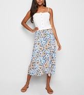 New Look Tropical Floral Wrap Midi Skirt