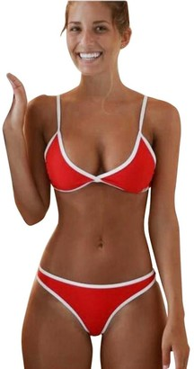 Lhwy Women Swimwear 2 Piece Beachwear Bikini Set Vest Push-up Padded Bra Bathing Suit Swimsuit Vintage Ladies (Red S)