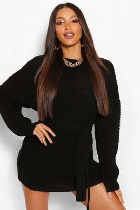 boohoo Tall Waffle Knit Belted Jumper Dress