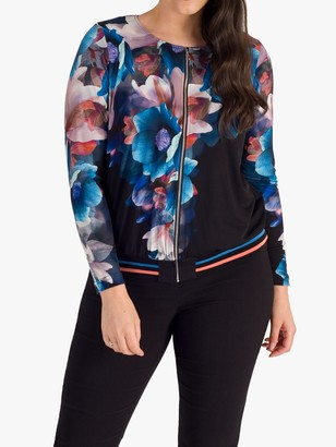 Chesca Floral Rib Trim Jacket, Black/Multi