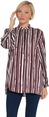 Martha Stewart Watercolor Stripe Long Sleeve Woven Blouse