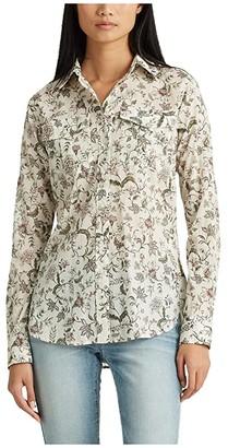 Lauren Ralph Lauren Petite Floral Cotton Shirt (Mascarpone Cream Multi) Women's Long Sleeve Pullover