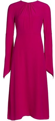 Victoria Beckham Twist Back Silk Crepe Midi Dress