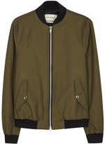Oliver Spencer Saddle Olive Cotton Blend Bomber Jacket