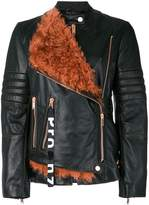 Proenza Schouler Leather Belted Moto Jacket with Shearling Panel