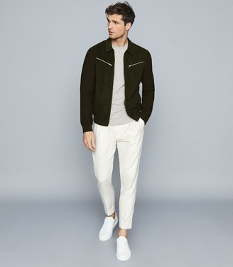 Reiss LUCIANO SUEDE FRONT KNITTED ZIP THROUGH Khaki