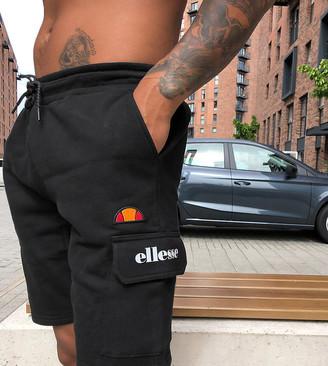 Ellesse Naro utility pocket fleece shorts in black exclusive at ASOS