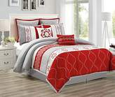"""Chezmoi Collection Landon by 8-piece Red/Gray/Off-White Floral Embroidery Medallion Quilted Bedding Comforter Set (90"""" x 92"""", Queen)"""