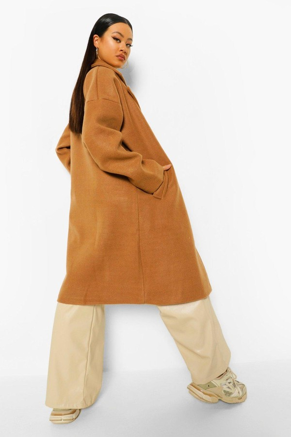 Thumbnail for your product : boohoo Extreme Collar Wool Look Coat