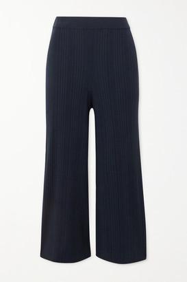 Max Mara Leisure Giusy Ribbed-knit Wide-leg Pants - Navy