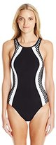 Jets Women's Luxe High Neck One Piece Swimsuit