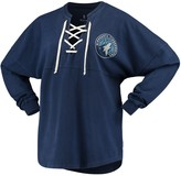 Women's Fanatics Branded Navy Minnesota Timberwolves Lace-Up Spirit Jersey Long Sleeve T-Shirt
