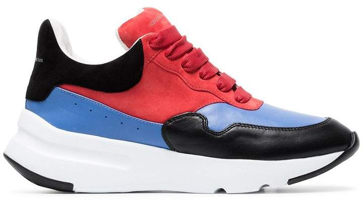 Alexander McQueen multi-coloured Runner leather and suede sneakers