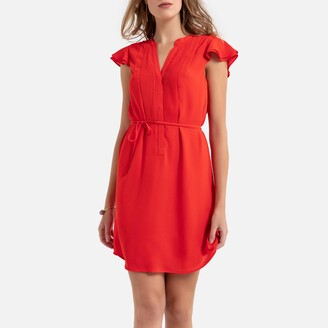 Molly Bracken Ruffled Mini Dress with Tie-Waist and Short Sleeves