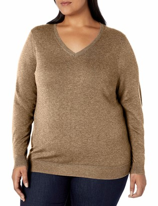 Amazon Essentials Plus Size Lightweight V-neck Sweater Blue Heather 1X