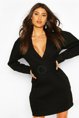 boohoo Belted Wrap Balloon Sleeve Denim Dress
