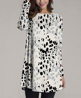 Nanu Women's Tunics Cream - Cream & Black Cheetah Dot Long-Sleeve Tunic - Women & Plus