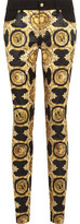 Versace Mid-Rise Twill-Trimmed Printed Satin Slim-Leg Pants