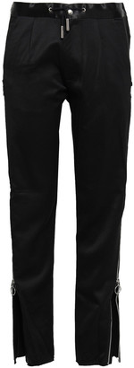 Marques Almeida Zip-detailed Wool-sateen Straight-leg Pants