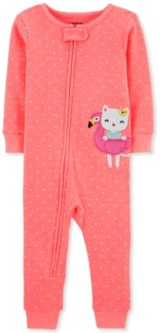 Carter's Baby Girls 1-Pc. Kitty Cat Dot-Print Footless Cotton Pajamas