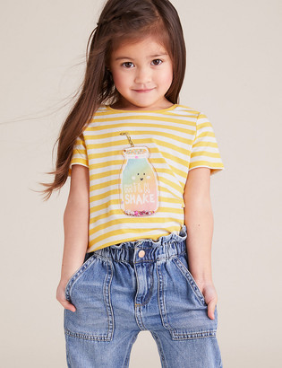 Marks and Spencer Pure Cotton Sequin Milkshake T-Shirt (2-7 Yrs)