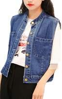 YACUN Women's Sleeveless Denim Jean Jacket Buttoned Vest XL