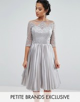 Chi Chi London Petite Allover Lace Top Prom Dress With Pleated Skirt