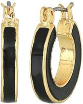 Napier Gold-Tone and Black Enamel Small Hoop Earrings