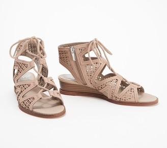 Vince Camuto Leather Lace-Up Demi-Wedge Sandals- Rollera