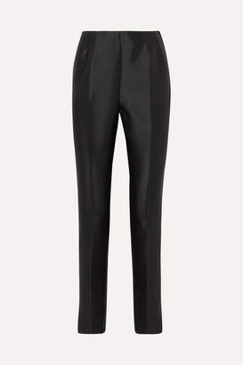 Gabriela Hearst Masto Silk And Wool-blend Slim-leg Pants - Navy