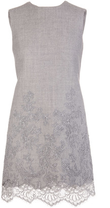 Ermanno Scervino Grey Wool Short Dress With Lace Insert