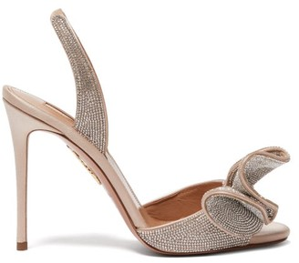 Aquazzura Cherry 105 Crystal-embellished Satin Sandals - Nude