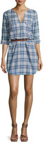 Joie Rathana C Plaid Belted Shirtdress, Blue