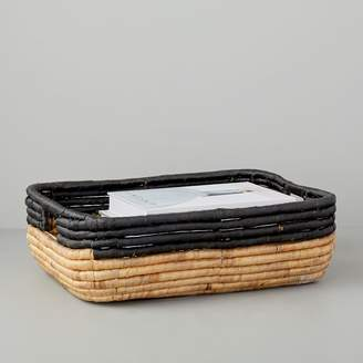 west elm Woven Seagrass Underbed Storage Basket (Natural/Black)