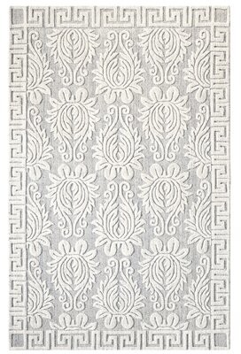 Company C Savoy Damask Hand Knotted Ivory/Gray Area Rug CompanyC Rug Size: Rectangle 5' x 8'