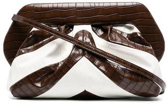 Themoire Bios crocodile-effect clutch