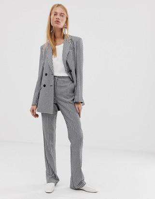 Asos Design DESIGN mini gingham slim kick flare suit pants