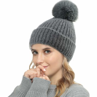 Vanansa Winter Hats for Women 4 Colors Double Layer Beanie Hat Womens with Large Pom Pom Super Warm for Outdoors