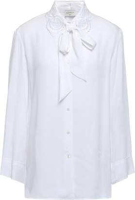 Sandro Lace-trimmed Pussy-bow Crepe Blouse