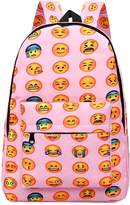 ShiningLove Unisex Students' Big Capacity Backpack Oxford Cloth QQ Emoji Expression Shoulder Bag