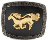 Trendy Fashion Jewelry TFJ Men Belt Buckle Western Fashion Cowboys Silver Metal Gold Rodeo Horse Black