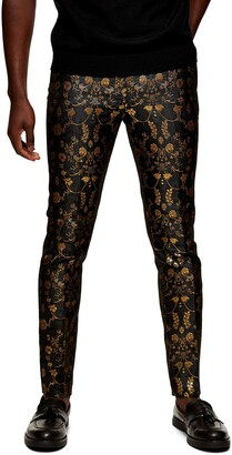 Topman Jacquard Skinny Trousers