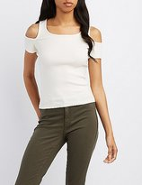 Charlotte Russe Ribbed Cold Shoulder Skimmer Top