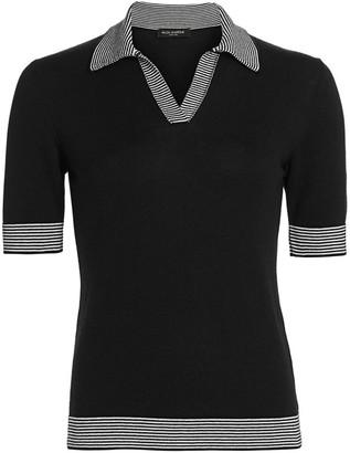 Piazza Sempione Cotton Cashmere Stripe-Accent Polo