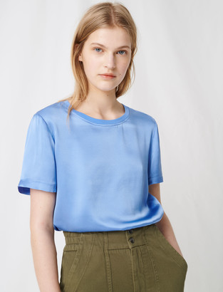 Maje Loose-fitting material-mix T-shirt