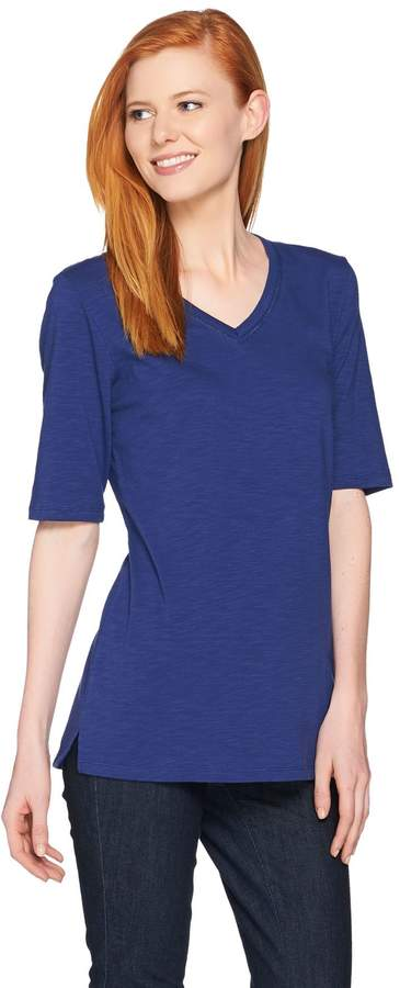 C. Wonder Essentials Slub Knit V-neck Elbow Sleeve Tunic