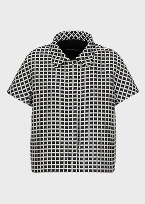Emporio Armani Two-Toned, Micro-Checked Bolero