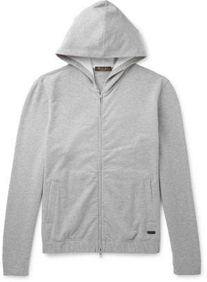 Loro Piana Stretch-Cotton Jersey Zip-Up Hoodie