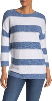 Kinross Textured Striped Boatneck Sweater