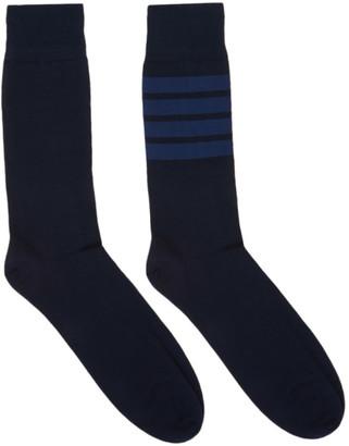 Thom Browne Navy 4-Bar Mid-Calf Socks